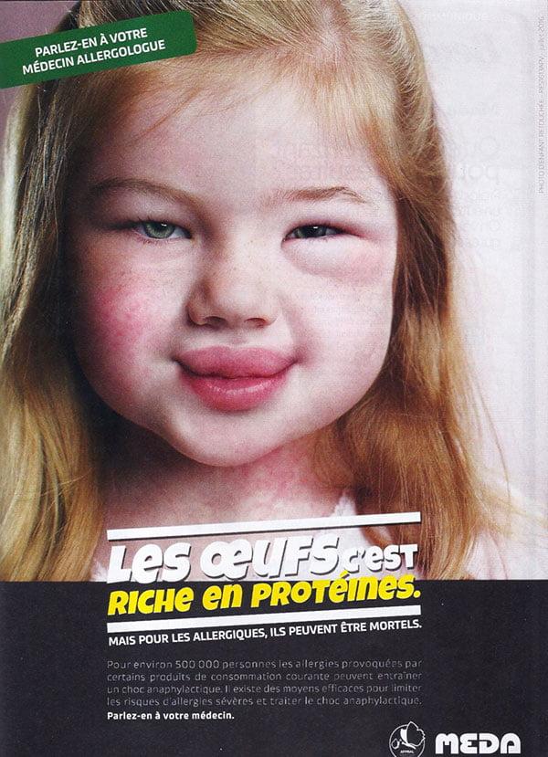 Publicité allergie aux oeufs